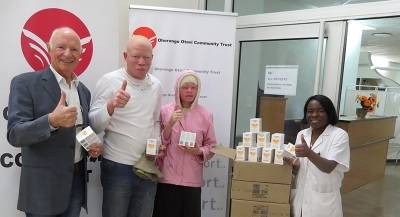 Hand over of specialized sunscreens to SINASRA in aid of the Namibian Albino Community