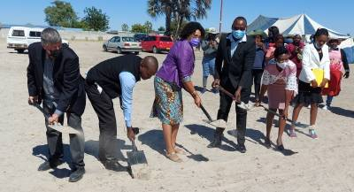 Hon. Natalia /Goagoses, (middle) during the groundbreaking of the 21 houses in Ongwediva
