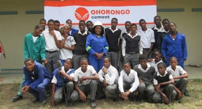 Learners of Khorab Secondary school with the Vocational Education teacher, Ms. Ndeshi Alweendo.
