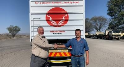 Ohorongo Cement Alternative Fuel Manager, handed over the side tipper to Carbo Managing Director