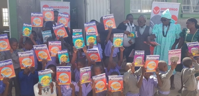 Pupils of Omuthitu Combined School with David Sheehama (Kambwa Trading)