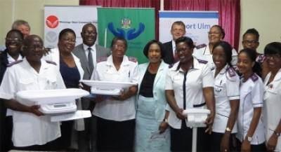 Staff of the Katutura Health Centre with the newly donated medical equipment.