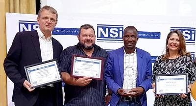 The Ohorongo team representatives with the awards they received on behalf of the company.