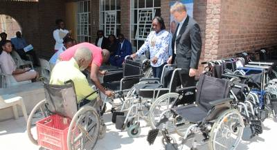 Thomas Garoëb's ten years old wheelchair was replaced with a brand new one